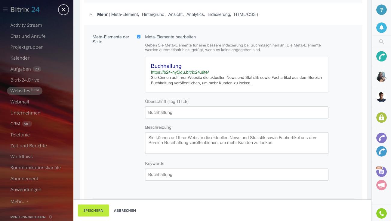 Bitrix24: Kostenlose Websites und Landingpages