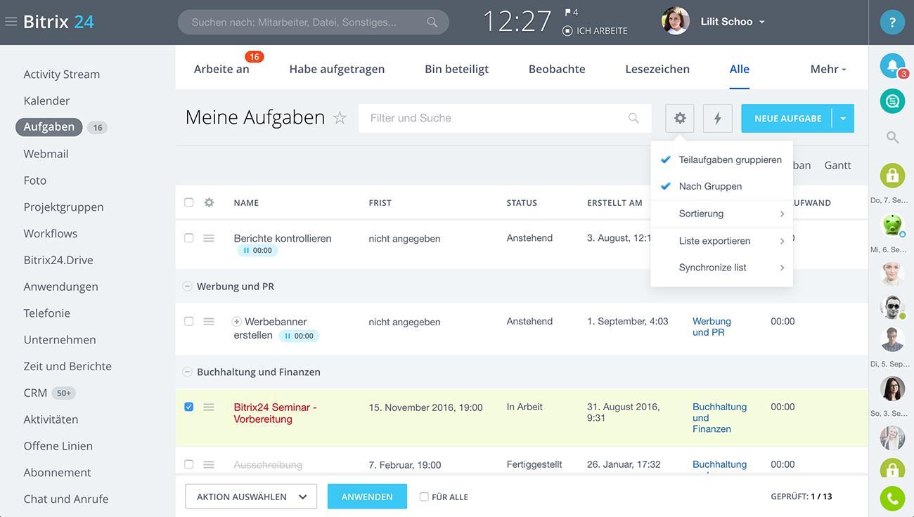 Bitrix24: Aufgaben- und Projektmanagement